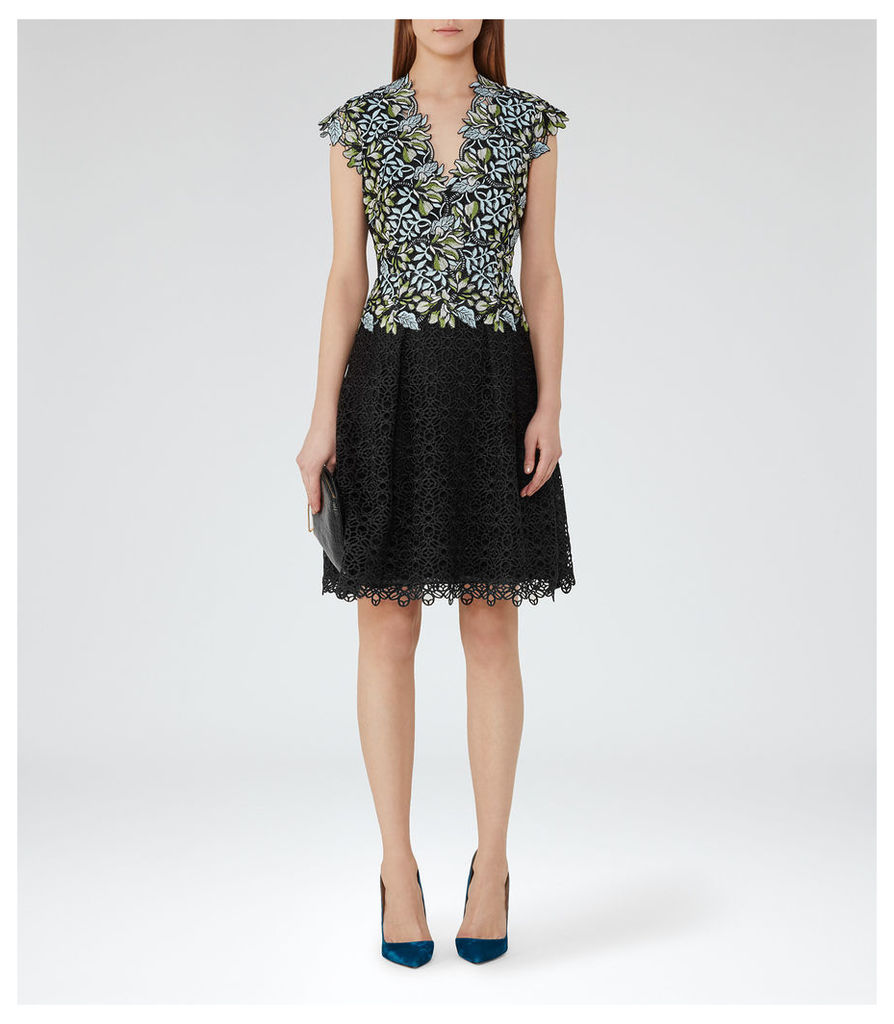 REISS Idie - Womens Lace And Embroidery Dress in Blue