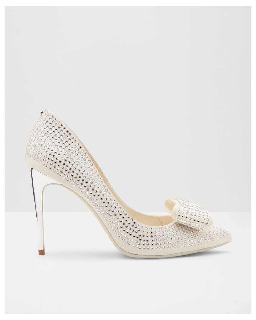 Ted Baker Studded bow pointed courts Cream