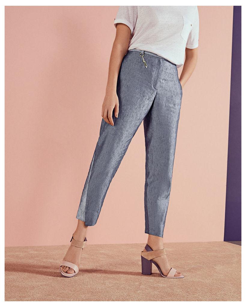 Ted Baker Side panel linen-blend trousers Navy