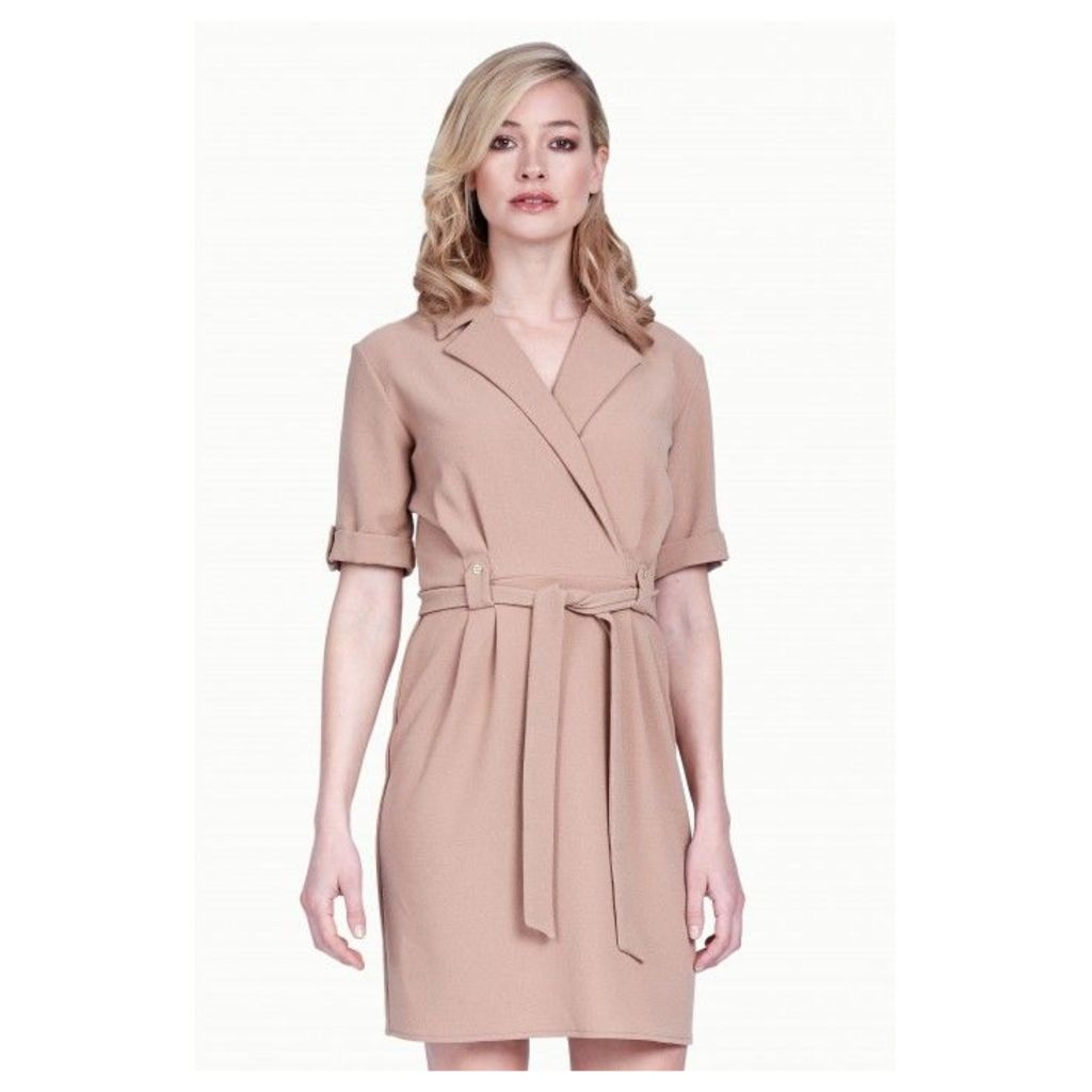 WOVEN WRAP BELTED DRESS
