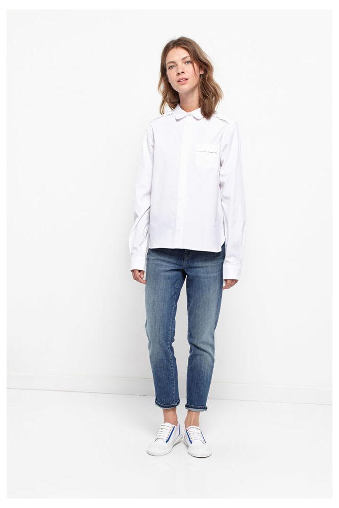 White Frill Oxford Shirt