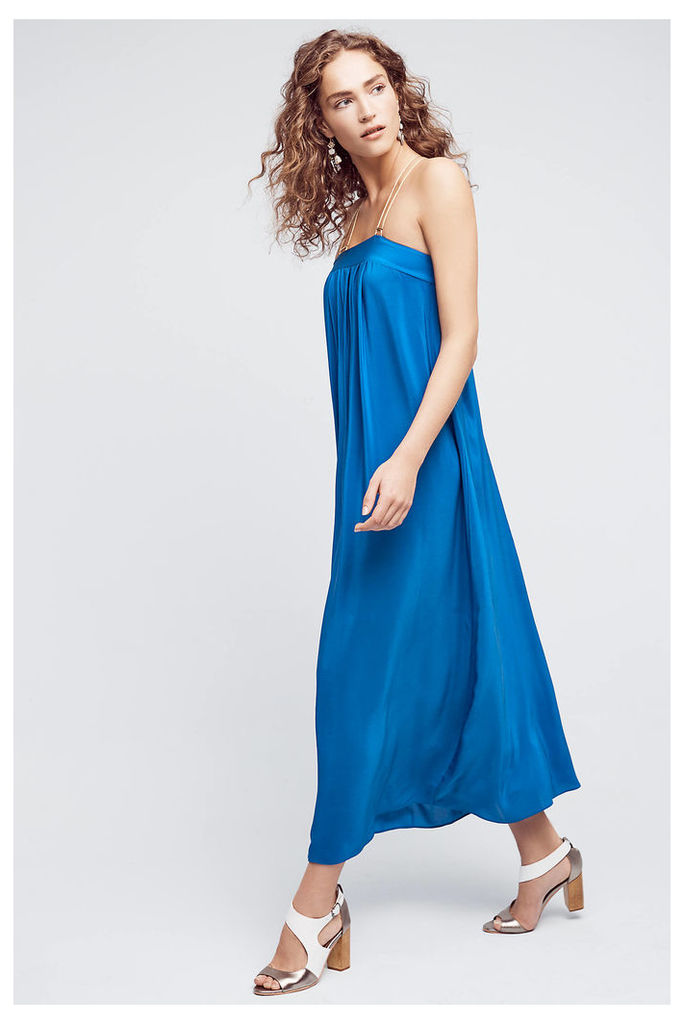 North Star Silk Maxi Dress, Blue