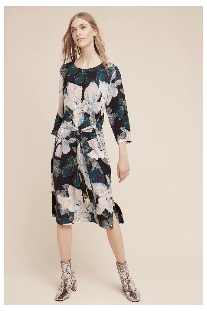 Klaudia Floral Silk Dress, Black