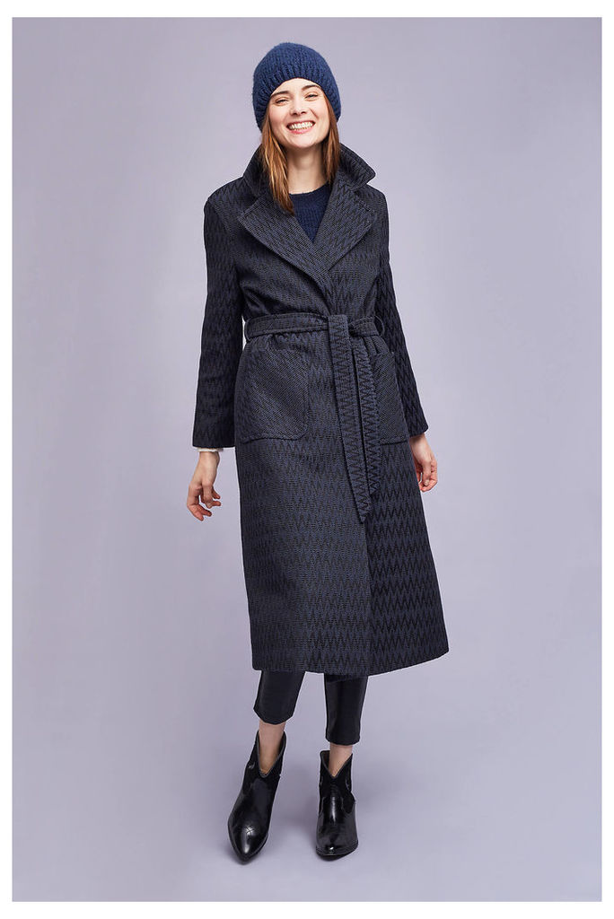 Alisa Wrap Coat, Navy