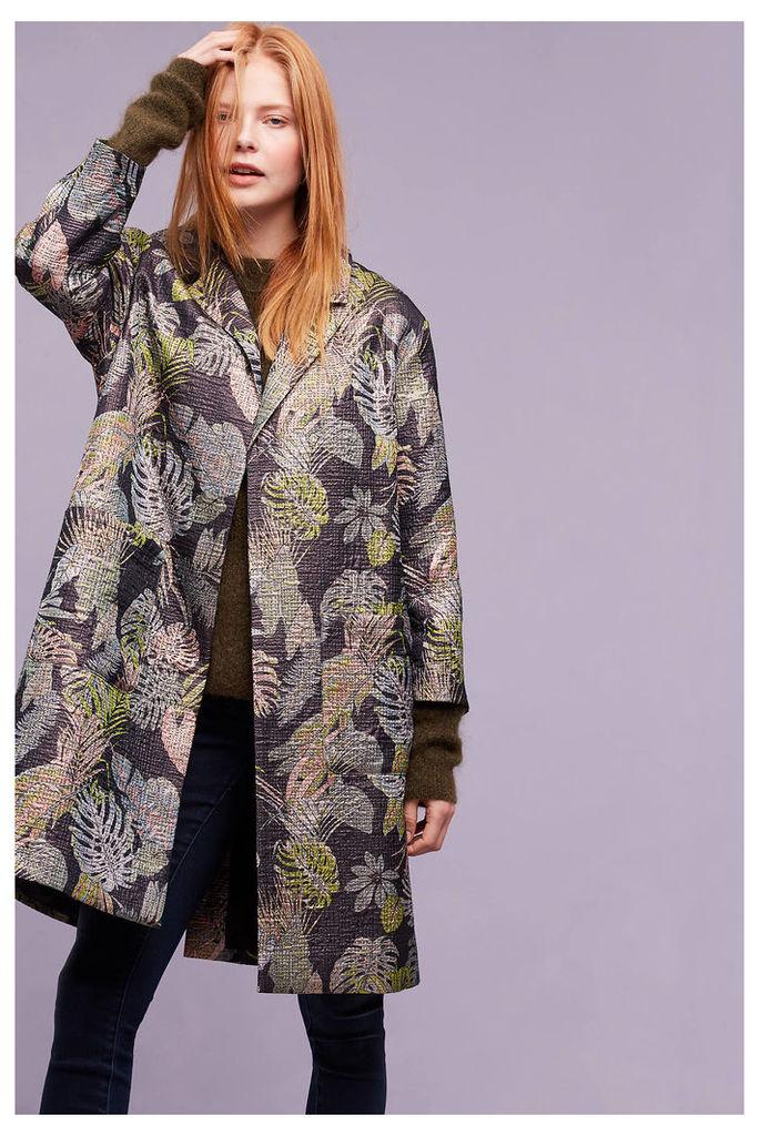 Antwerp Leaf-Print Coat, Black