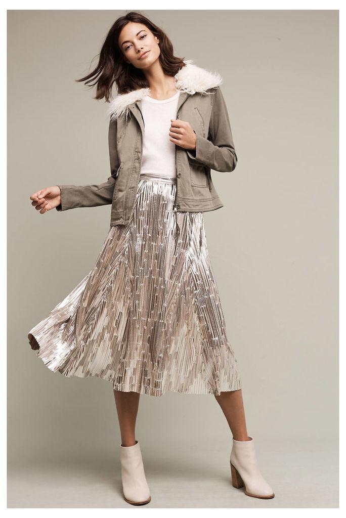 Eclat Metallic Midi Skirt, Silver
