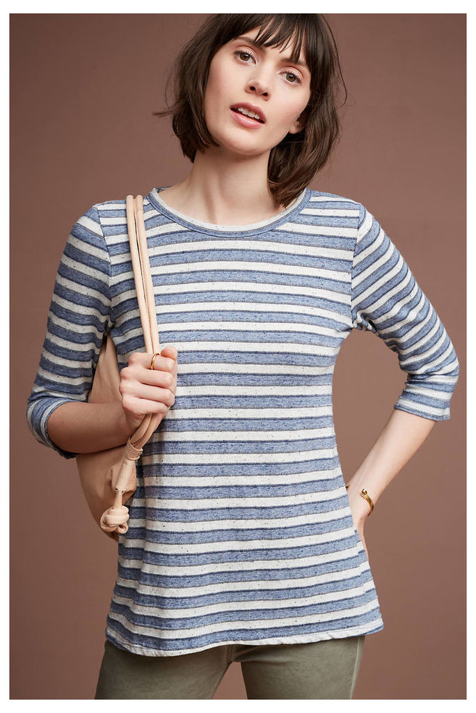 Erin Striped Low-Back Tunic, Navy