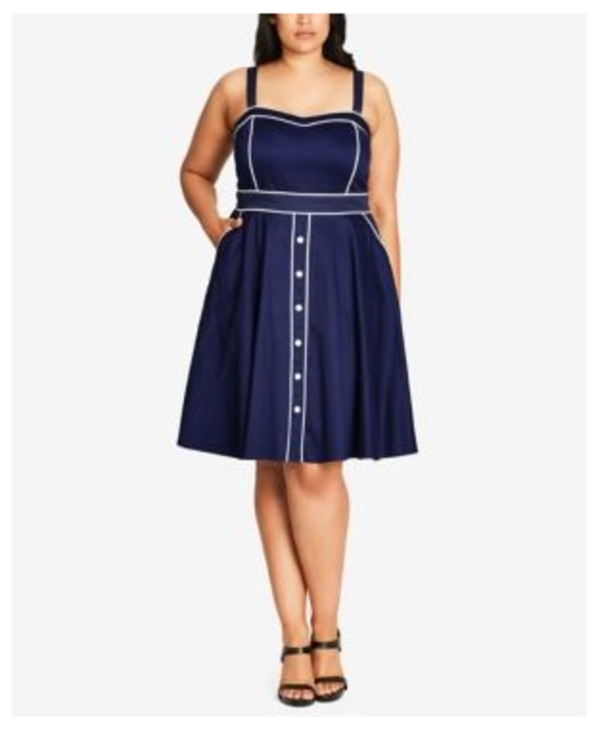 City Chic Trendy Plus Size Piped Fit & Flare Dress