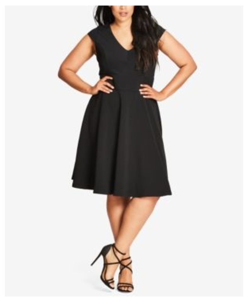 City Chic Trendy Plus Size Cap-Sleeve Fit & Flare Dress