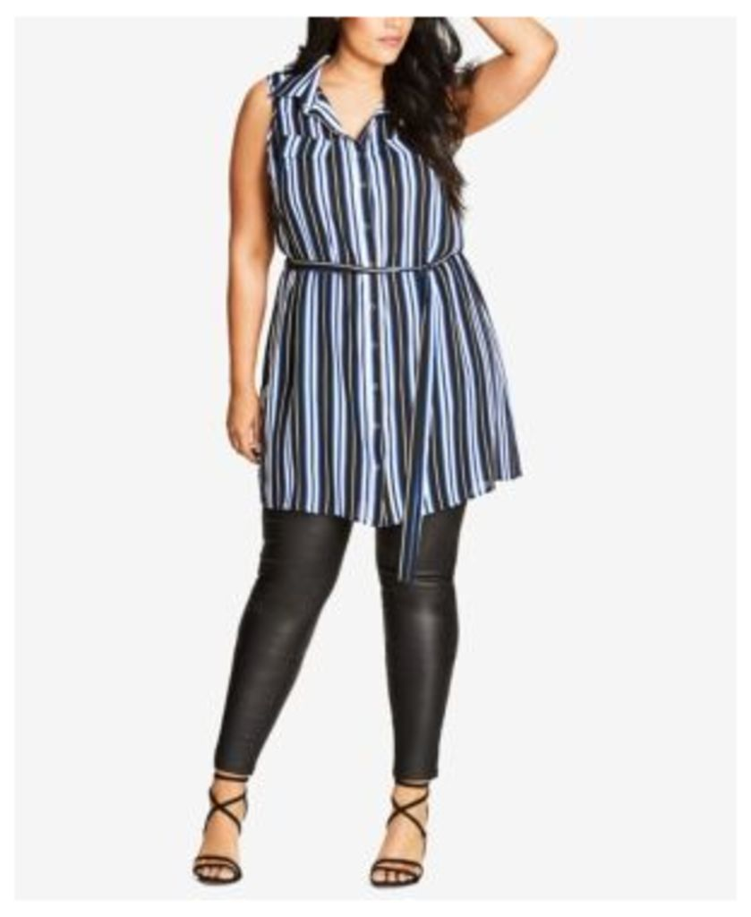 City Chic Trendy Plus Size Striped Tunic Shirt