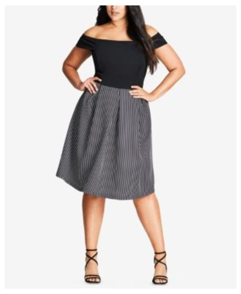 City Chic Trendy Plus Size Cropped Off-The-Shoulder Top