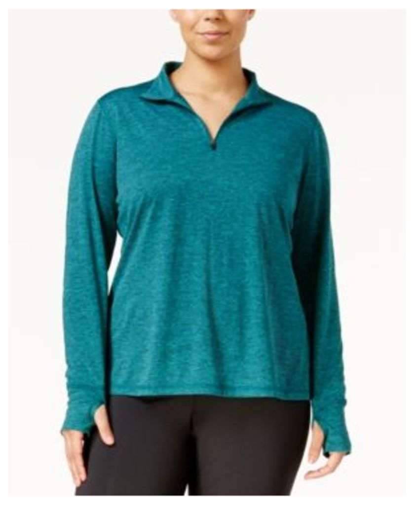 Ideology Plus Size Essential Quarter-Zip Top, Only at Macy's