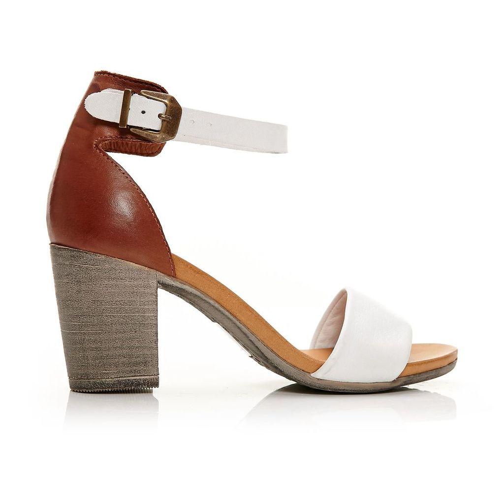 Moda in Pelle Loella White High Casual Sandals