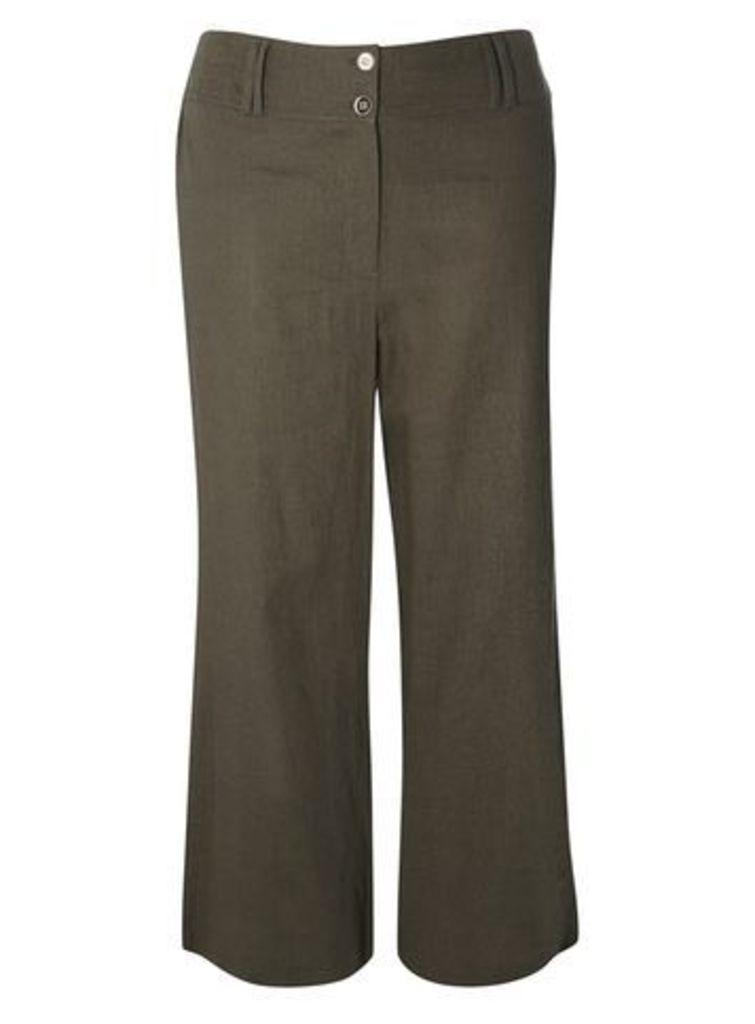 Khaki Green Linen Button Detail Wide Leg Trousers, Khaki