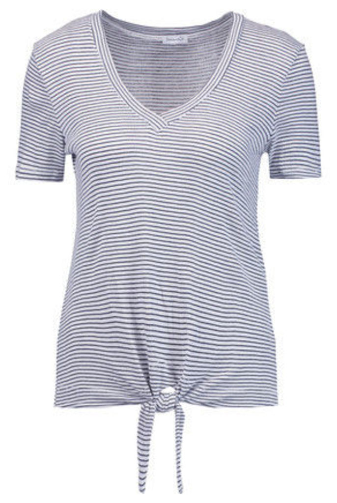 Splendid - Knotted Striped Stretch-jersey T-shirt - White