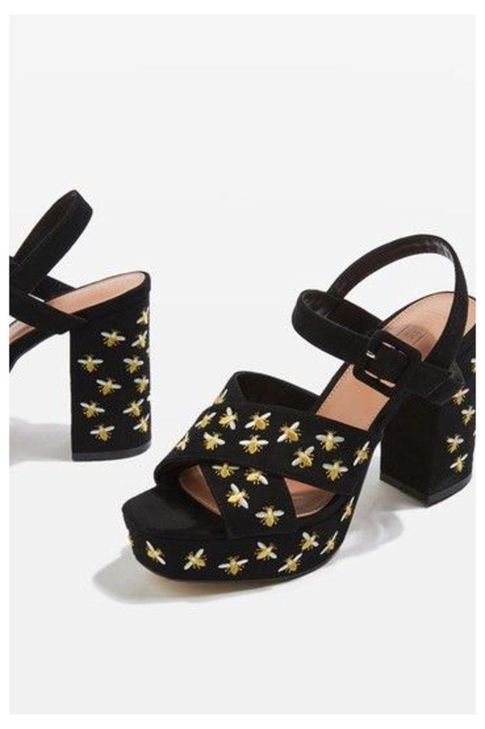 Womens MARIGOLD Embroidery Platform Sandals - Yellow, Yellow