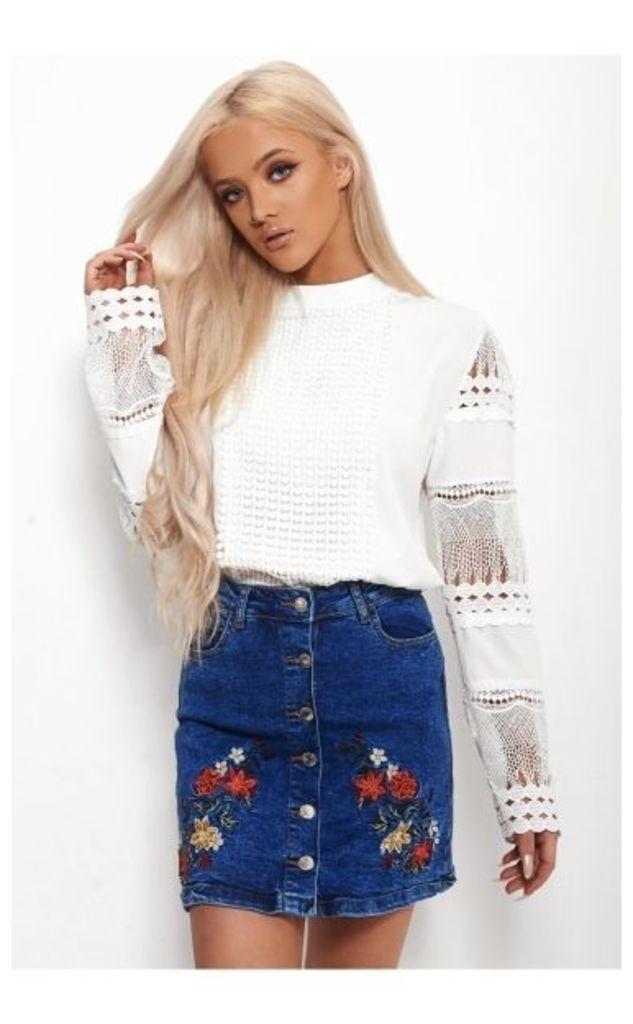 Olivia White Crochet Blouse