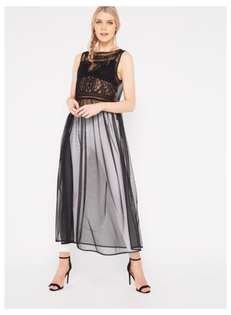 Womens Geo Embroidered Mesh Dress, Black