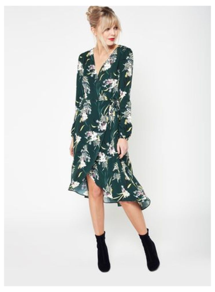 Womens Orchid Printed Midi Dress, Pale Green