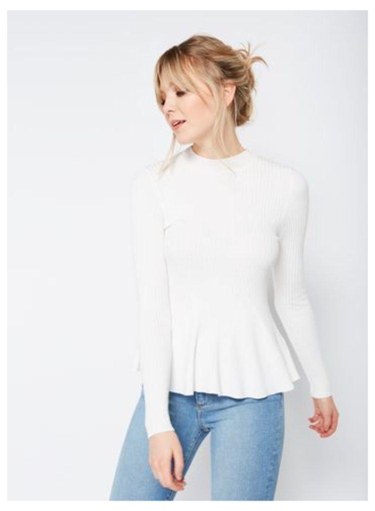 Womens Ivory Long Sleeve Godet Peplum Top, Cream