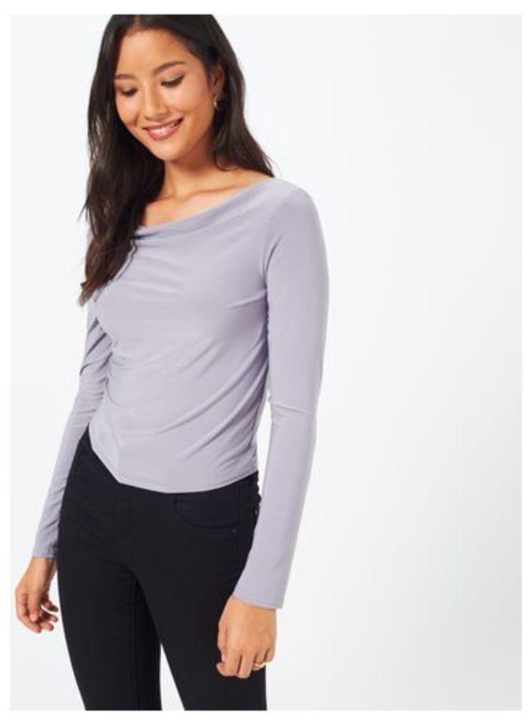 Womens Grey Cowl Neck Top, Grey