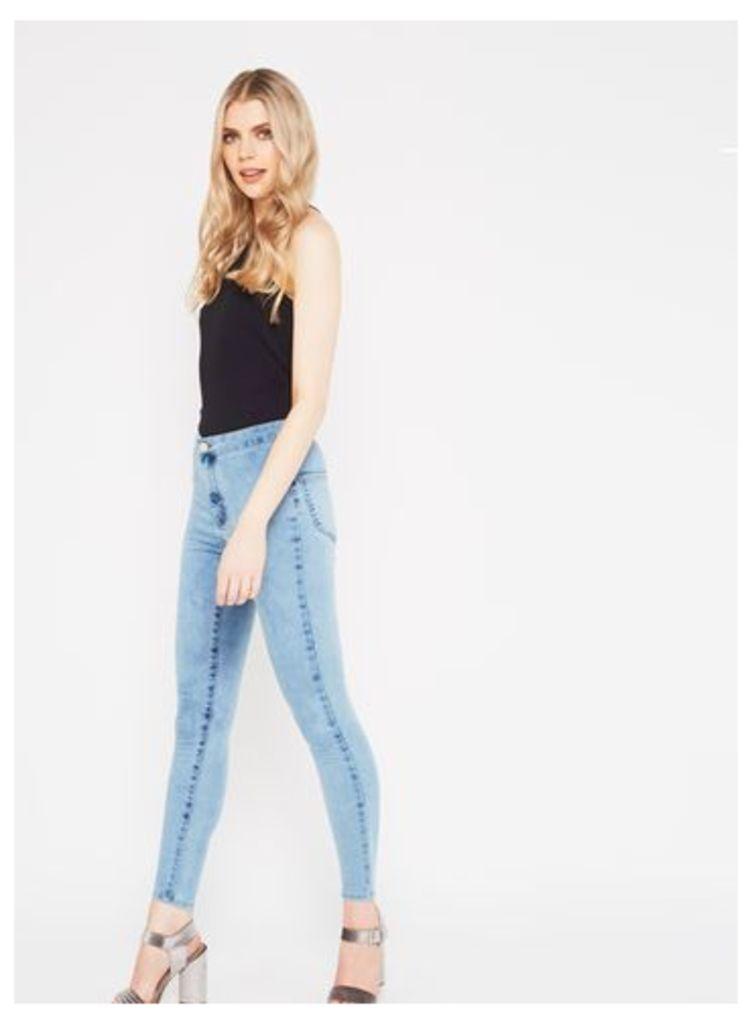 Womens STEFFI Acid Blue Super High Waist Jeans, Bleached Denim