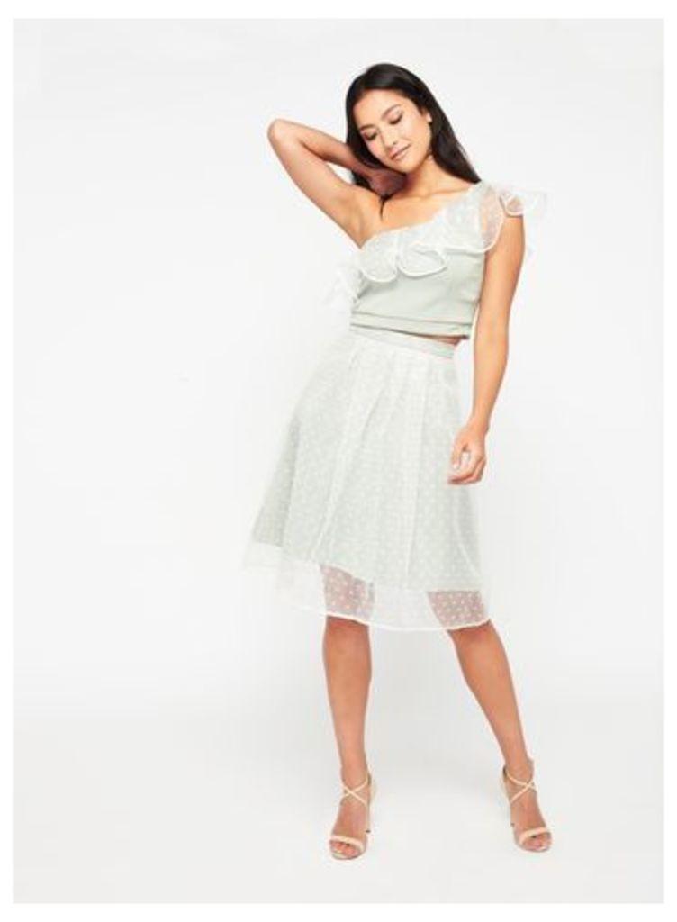 Womens PETITE Spot Mesh Skirt, Ivory