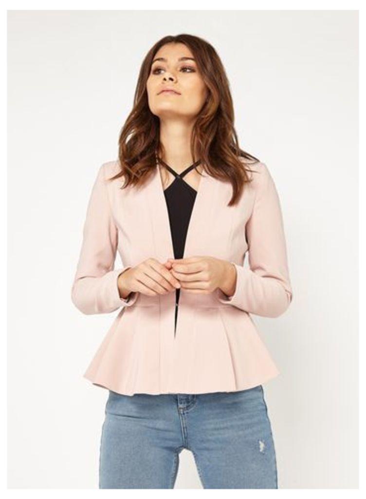Womens PETITE Nude Peplum Jacket, Pink
