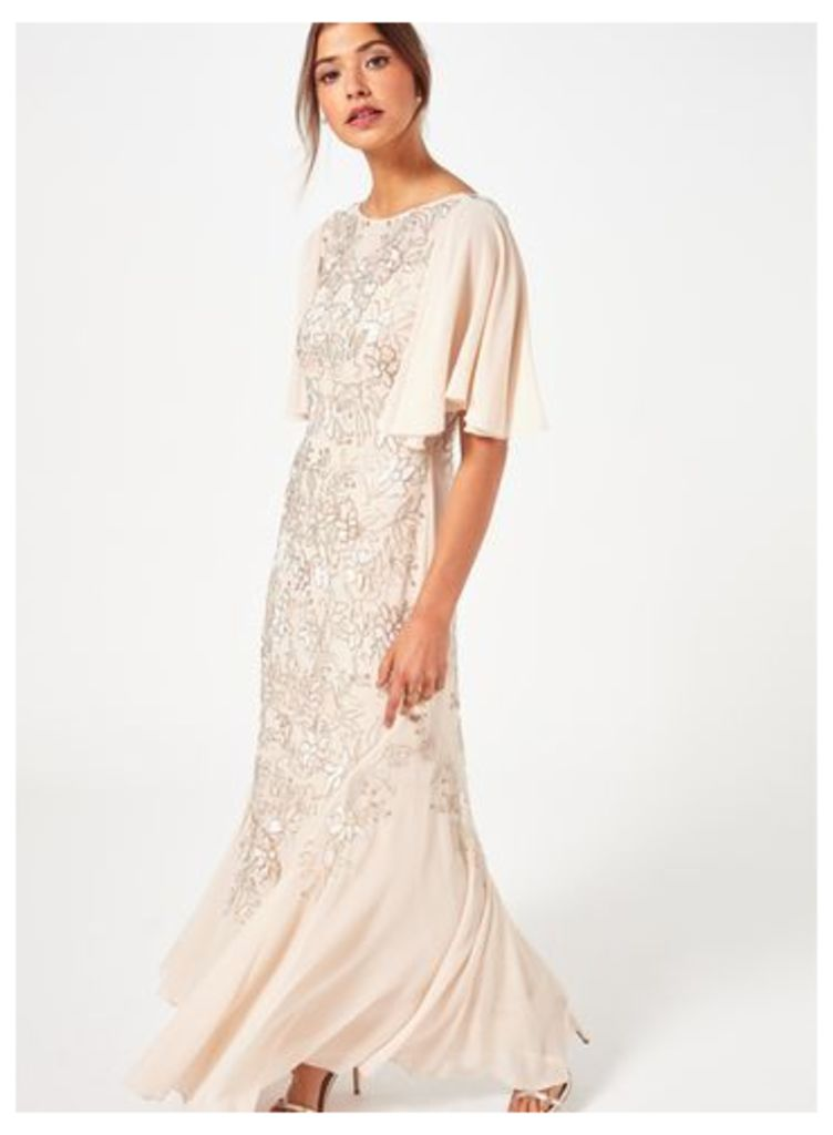 Womens PREMIUM Nude Embellished Maxi Dress, Assorted