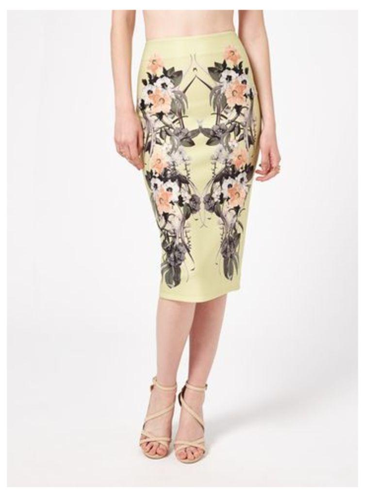 Womens Lime Tropical Pencil Skirt, Lime