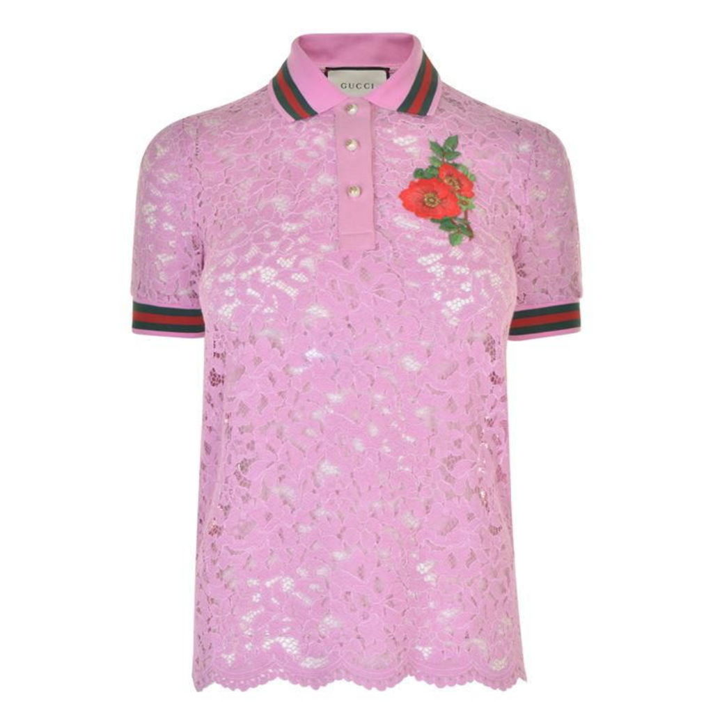 GUCCI Embroidered Lace Top