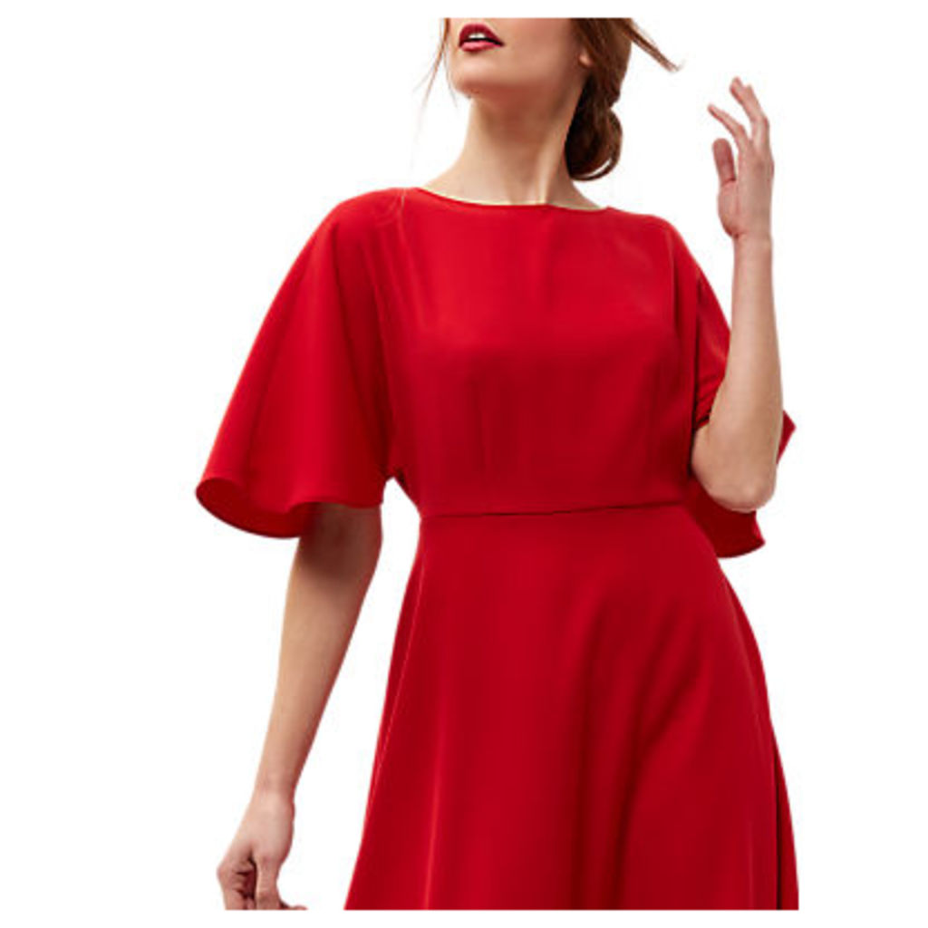 Jaeger Batwing Fit-and-Flare Dress, Bright Red