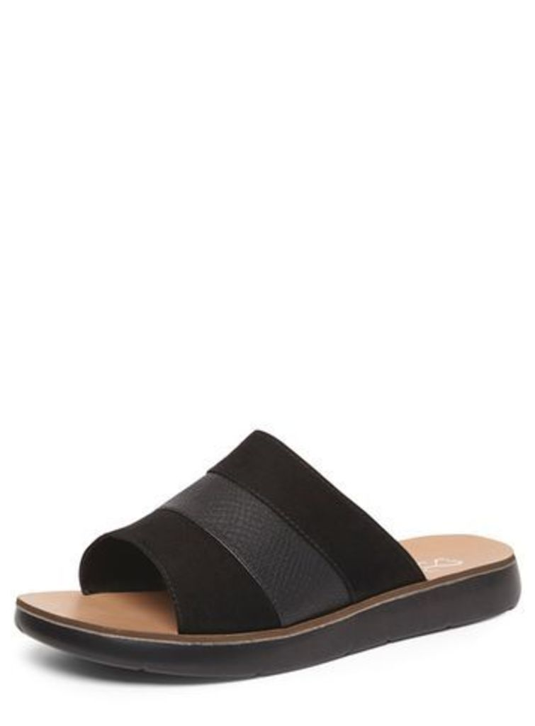 Black Material Mix Mule Sandals, Black