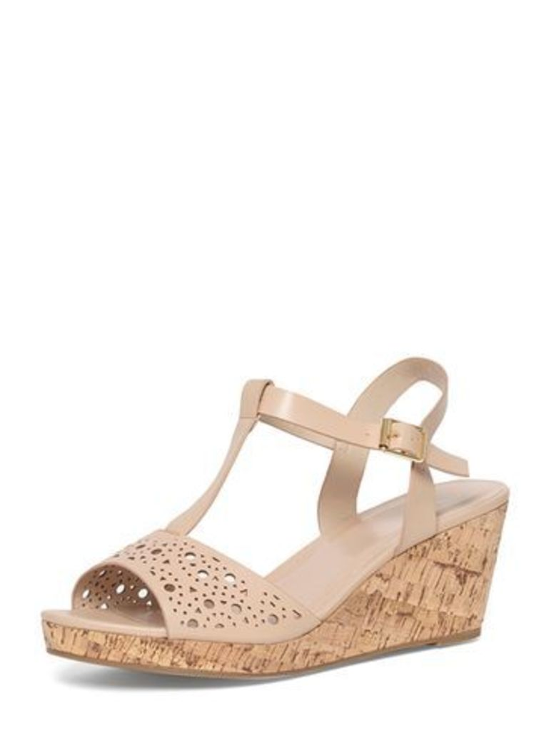 Nude T-Bar Punch Out Wedge Sandals, Nude