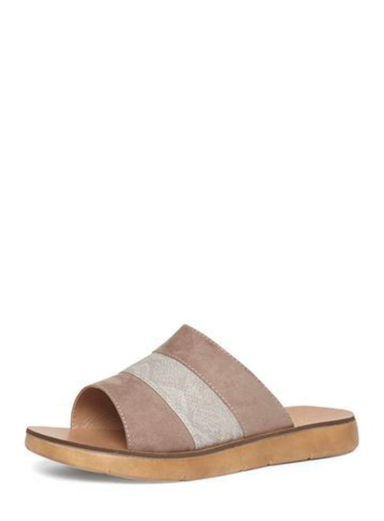 Grey Material Mix Mule Sandals, Grey