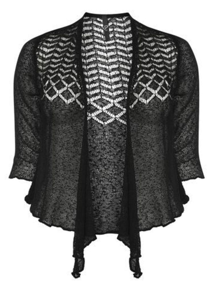 Black Fine Knit Shrug, Black