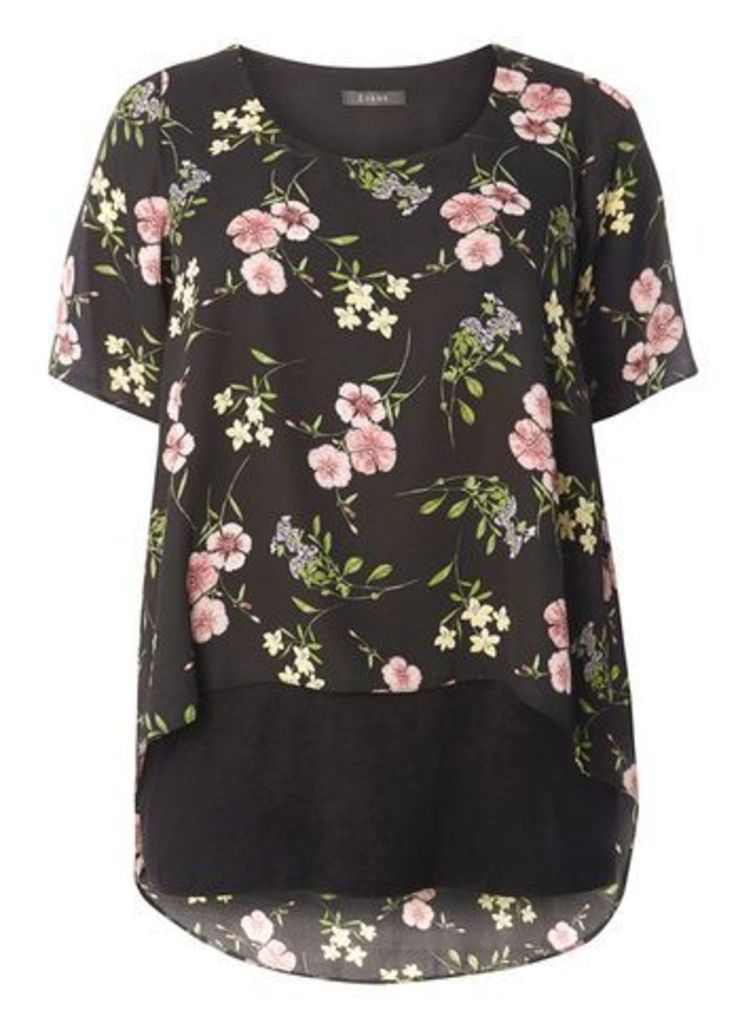 Black Busty Floral Overlay Top, Dark Multi