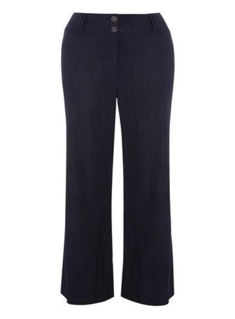 Navy Blue Pear Fit Linen Blend Wide Leg Trousers, Navy