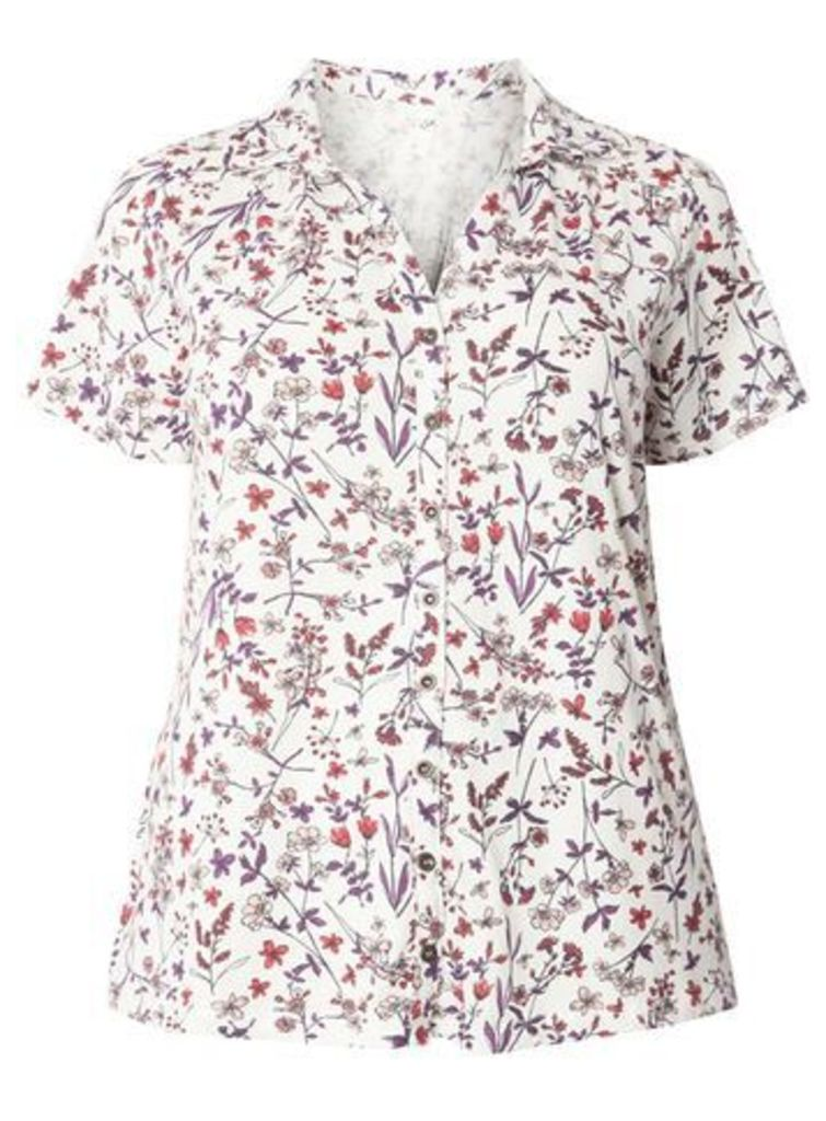 Ivory Floral Print Jersey Shirt, Ivory