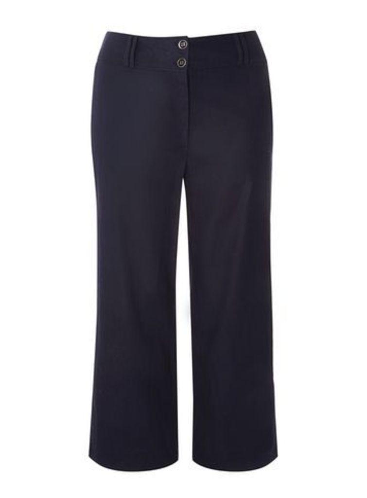 Navy Blue Linen Blend Wide Leg Trousers, Navy