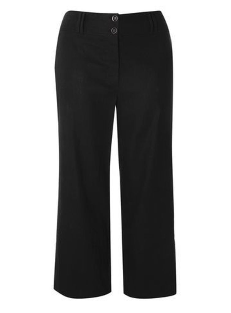 Black Linen Blend Wide Leg Trousers, Black