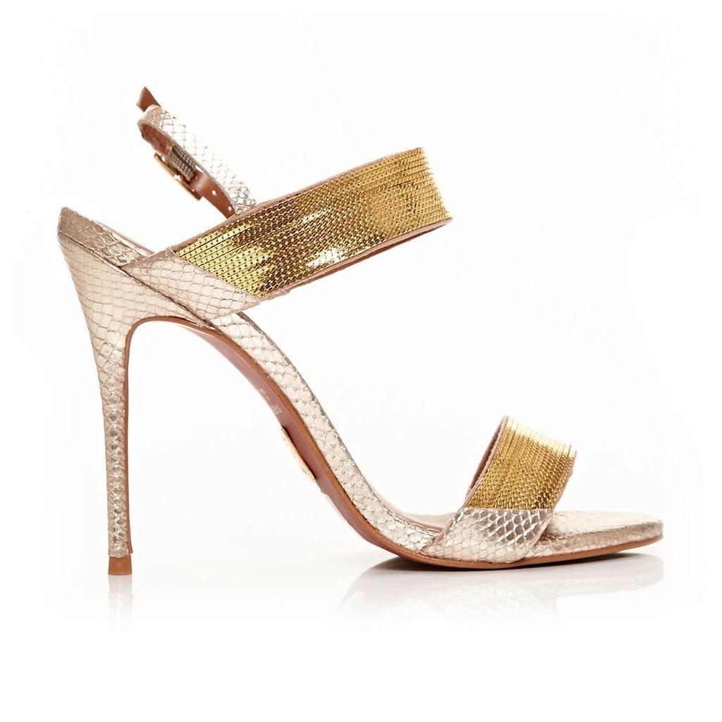 Moda in Pelle Sicilla Gold Very High Occasion Sandal