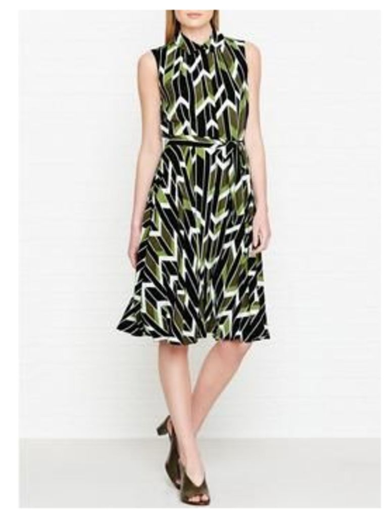 Hobbs Rowena Geometric Print Belted Dress - Lime Green