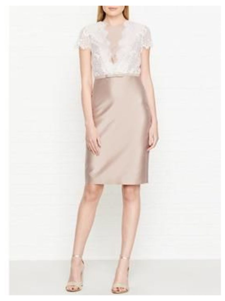 Hobbs Viv Lace Detail Dress - Oyster