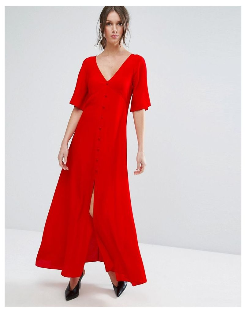 ASOS Maxi Tea Dress with Button Through Detail - Red
