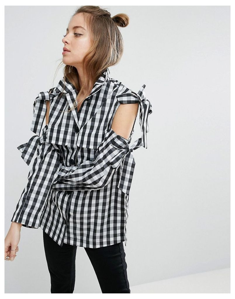 ASOS Jacket with Bow Cold Shoulder in Gingham Check - Mono