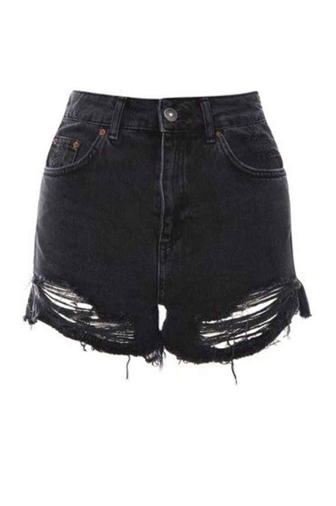 Womens TALL Raw Rip Split Mom Shorts - Washed Black, Washed Black