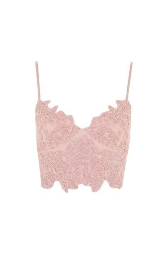 Womens Embroidered Cutwork Bralet - Blush, Blush