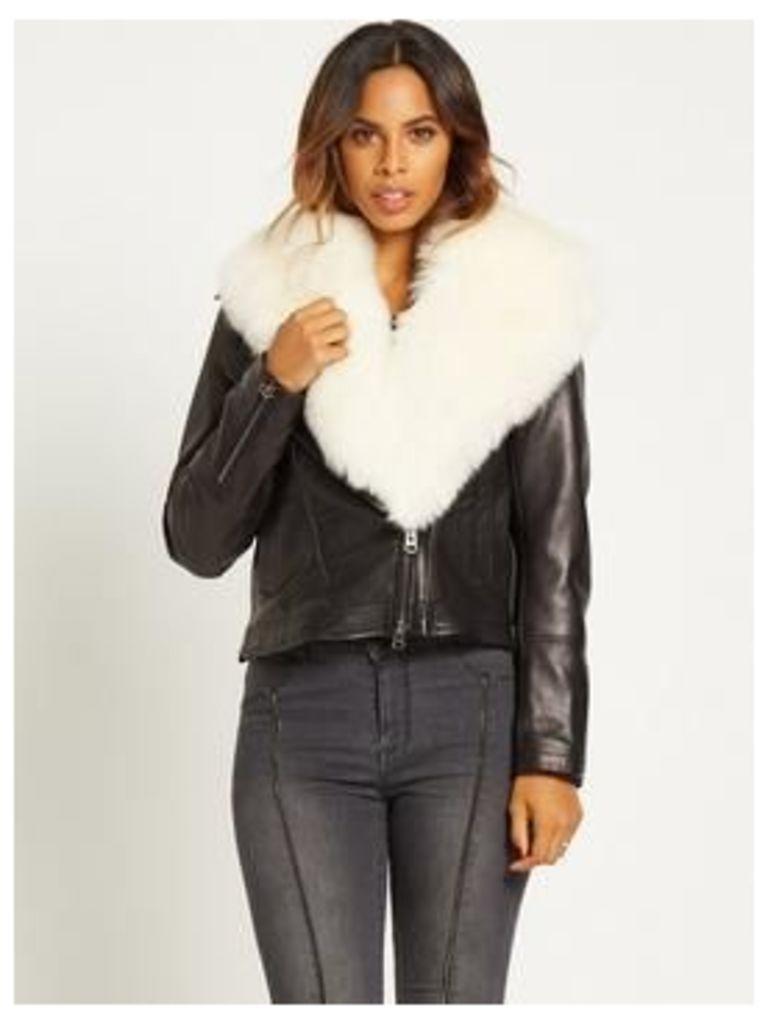Rochelle Humes Faux Fur Collar Leather Biker Jacket
