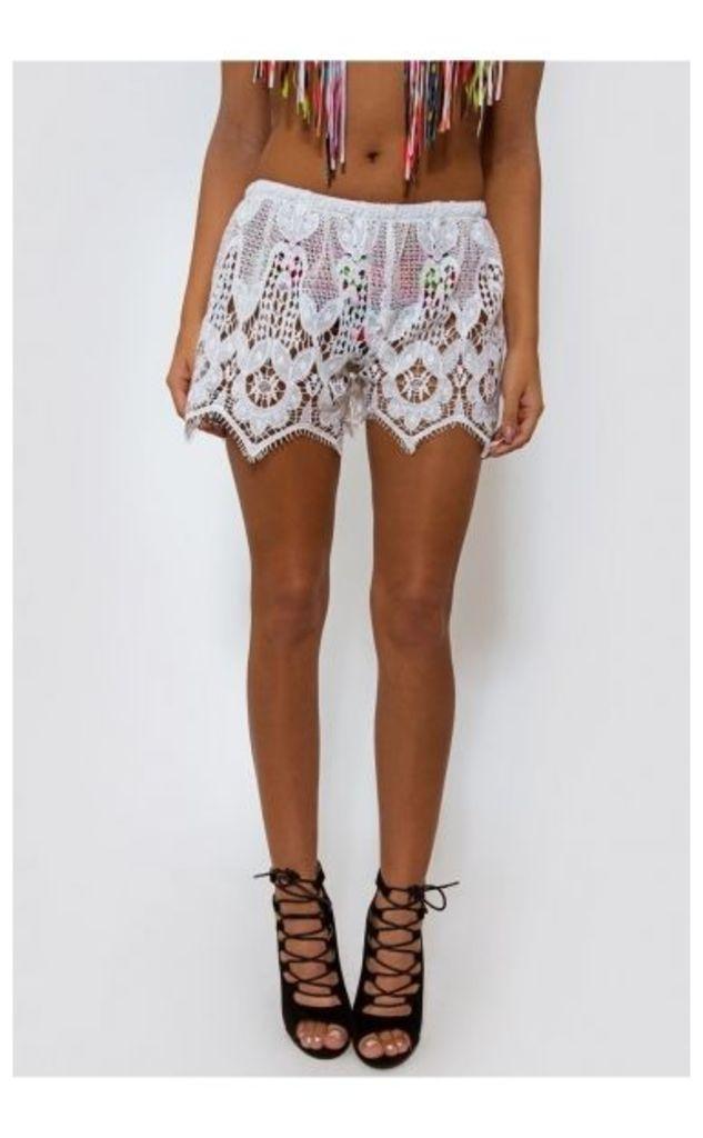 Malin White Lace Shorts